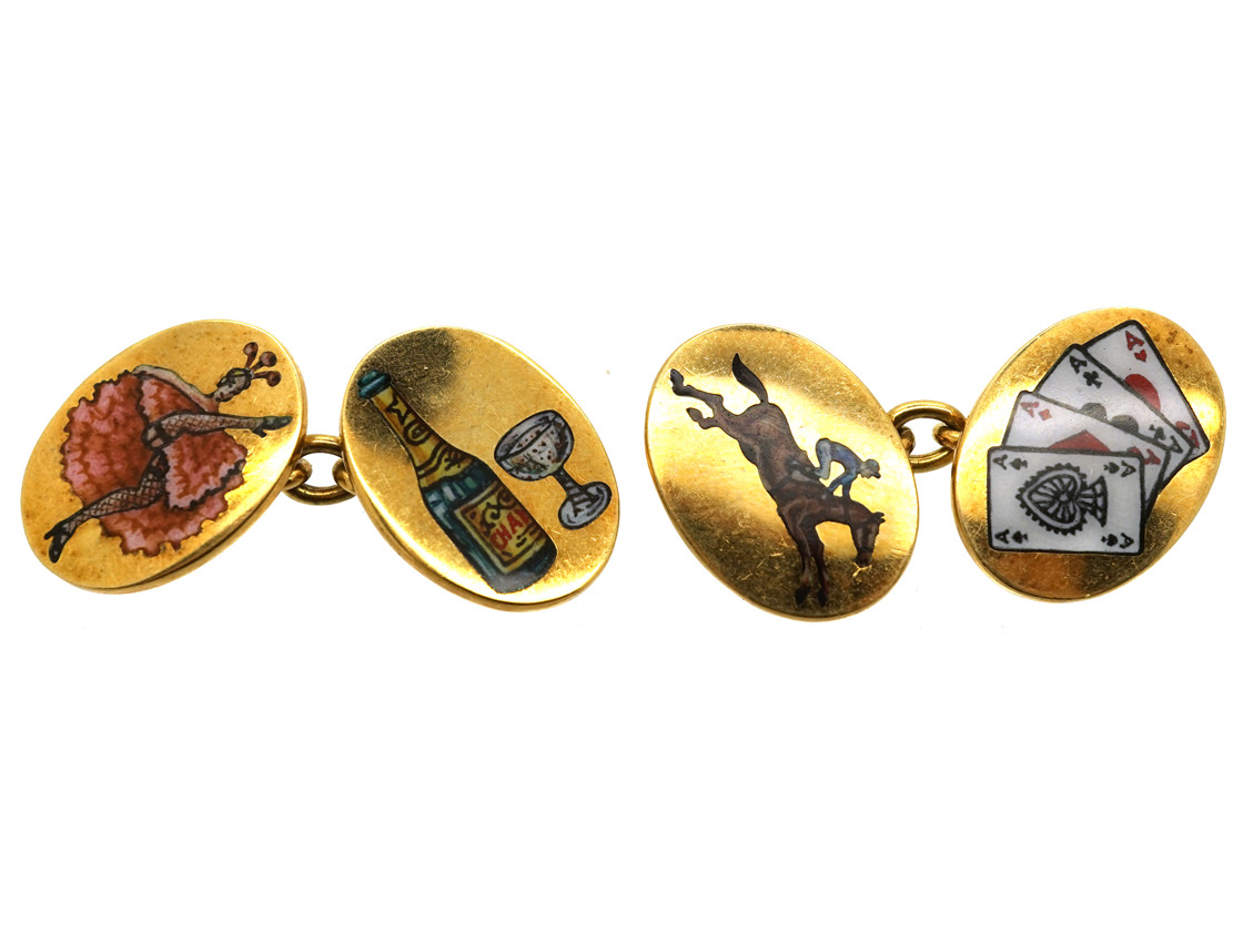 18ct Gold & Enamel Four Vices Cufflinks