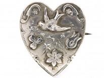 Edwardian Heart Shaped Brooch with Swallow Motif