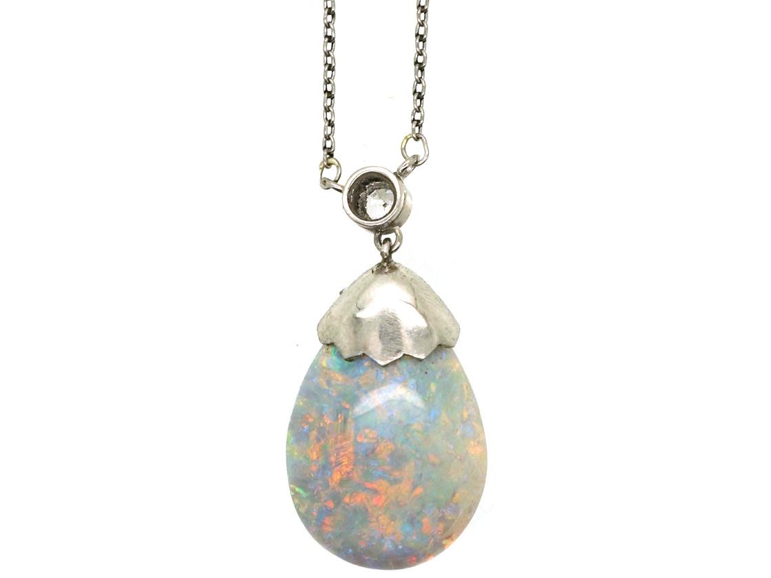 Edwardian Platinum, Opal & Diamond Pendant on Platinum Chain