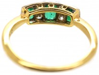 Edwardian 18ct Gold & Platinum Diamond & Emerald Three Stone Ring