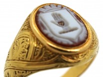 Victorian 18ct Gold & Carnelian Large Signet Ring With Hand On Heart Intaglio