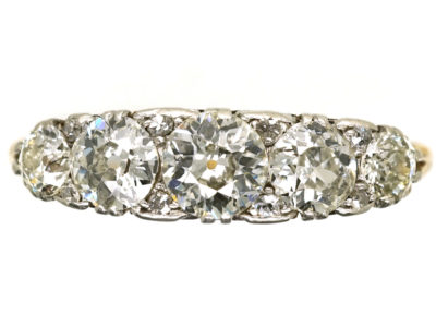 Edwardian 18ct Gold & Platinum Five Stone Diamond Carved Half Hoop Ring