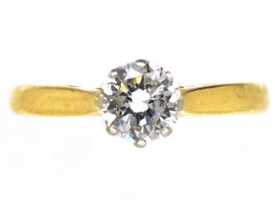 18ct Gold, Platinum, Diamond Solitaire Ring