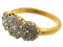 Edwardian 18ct Gold & Platinum Triple Cluster Diamond Ring