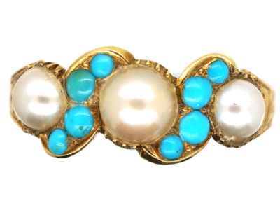 Regency 15ct Gold Turquoise & Pearl Ring