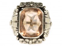 Art Deco Silver & Pink Citrine Ring