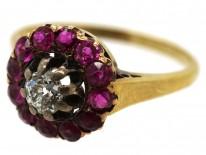Edwardian 18ct Gold, Diamond & Burma Ruby Cluster Ring