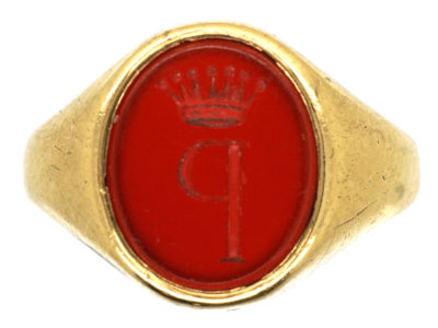 Gold & Carnelian Signet Ring with P & Coronet Intaglio