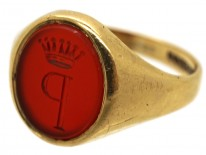 Gold & Carnelian Signet Ring with P & Coronet Intaglio