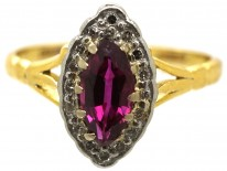 Edwardian 18ct Gold, Diamond & Ruby Marquise Ring