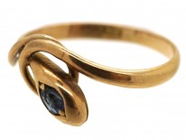 Edwardian Snake Ring Set With a Sapphire