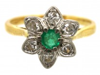 18ct Gold, Emerald & Diamond Flower Ring