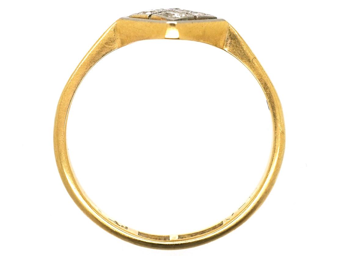 Art Deco 18ct Gold & Platinum Diamond Shaped Diamond Ring