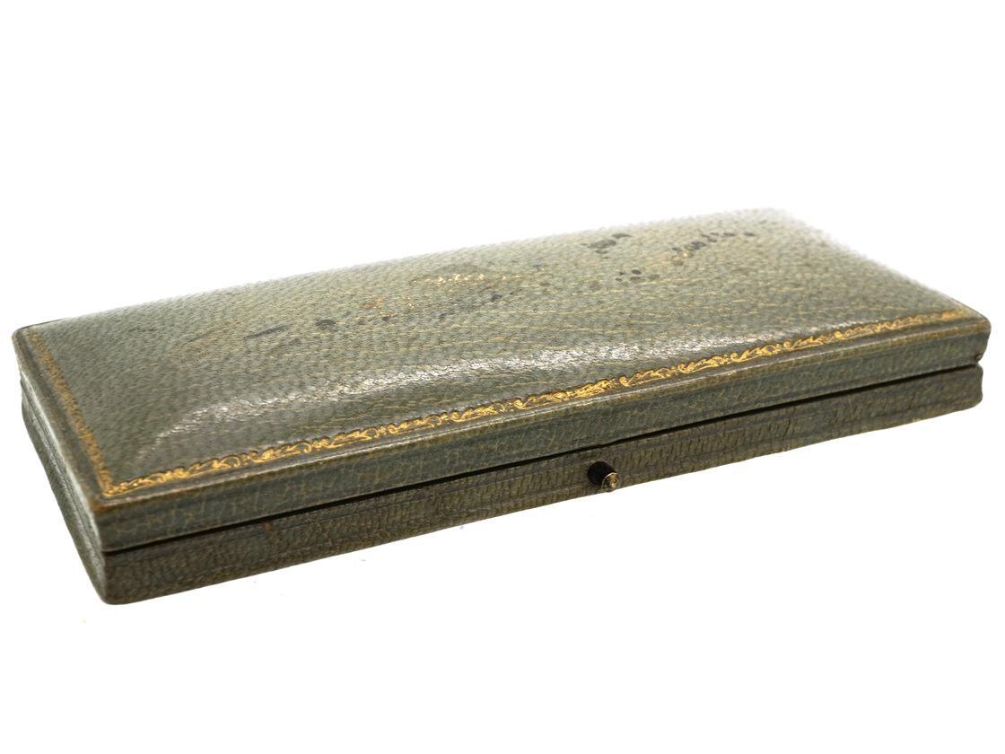 Art Deco Silver & Enamel Set of Buttons in Original Case by Marius Hammer