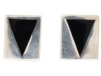 Modernist Silver & Onyx Cufflinks