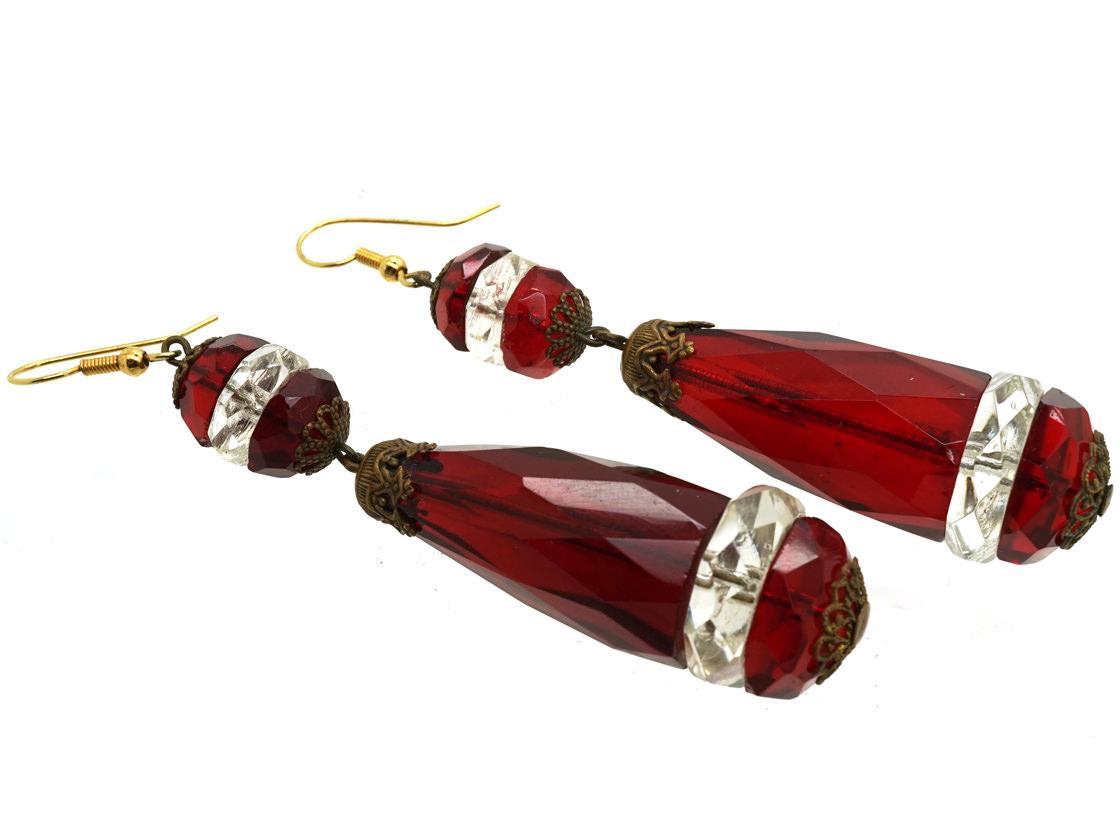 Large Art Deco Red & White Paste Earrings
