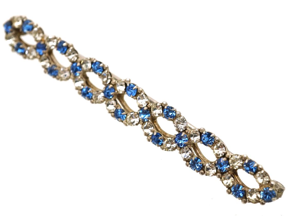 Art Deco Silver, Blue & White Paste Twist Brooch