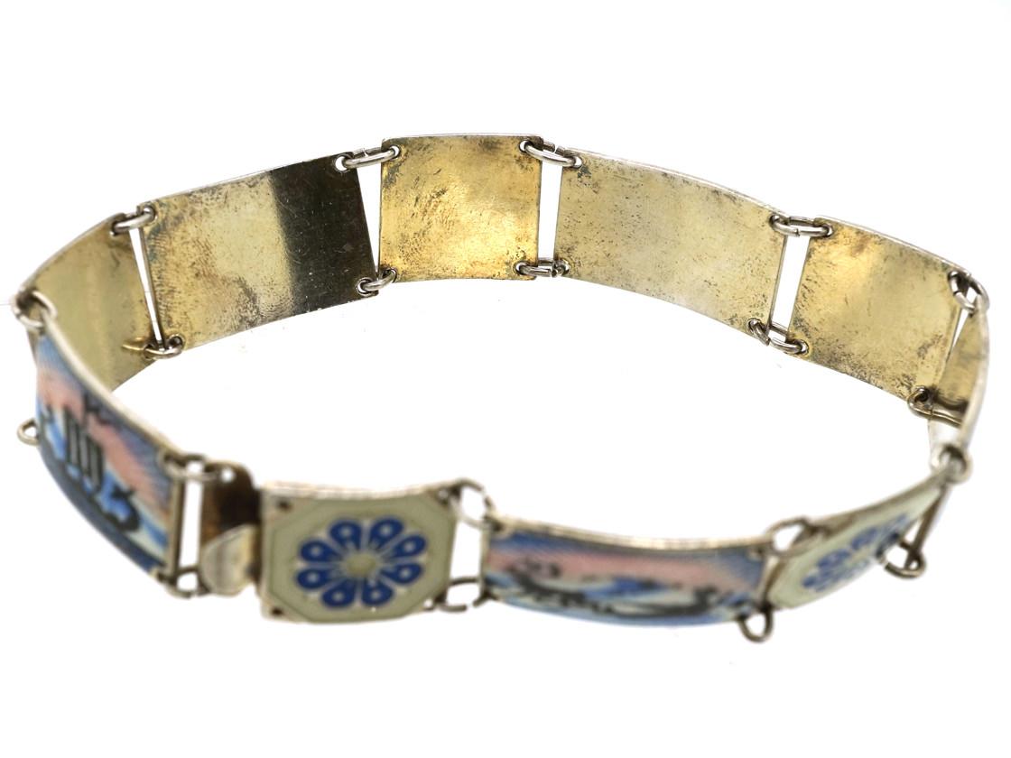 Silver & Enamel Scandinavian Scenes Bracelet by Ottar Hval