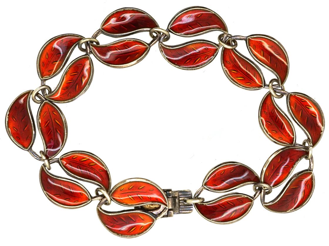 Silver & Red Enamel Bracelet by David Andersen