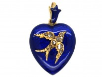 Victorian 15ct Gold, Blue Enamel Heart Shaped Pendant With Rose Diamond Set Swallow Motif