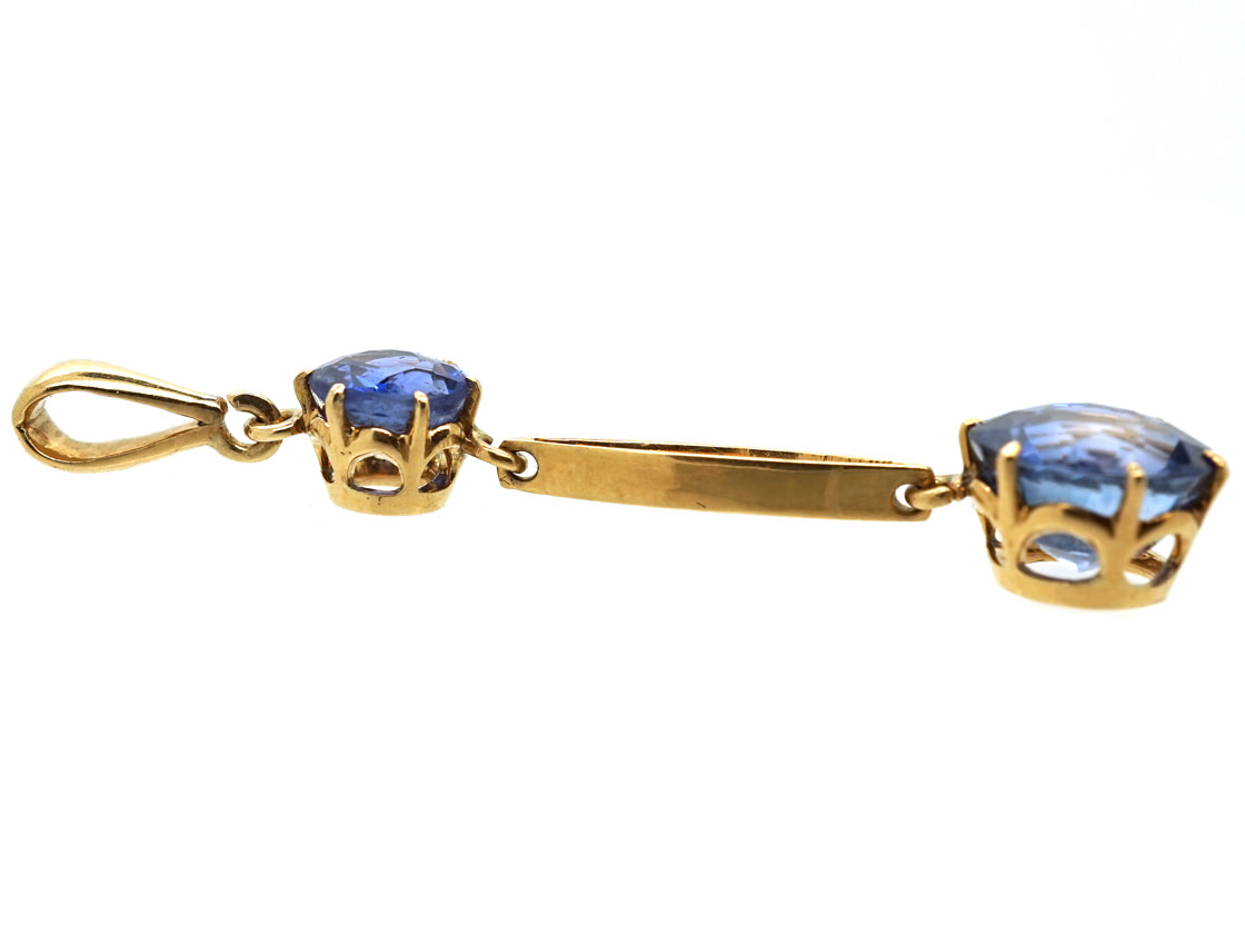 Art Deco 18ct Gold Sapphire Double Drop Pendant