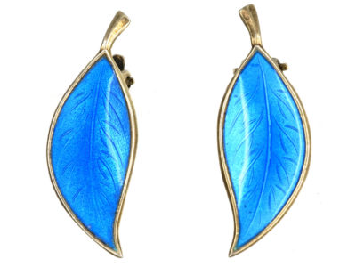 Silver & Blue Enamel Earrings by Bjerring Brothers