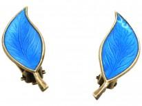 Silver & Blue Enamel Earrings by Bjerring Brothers