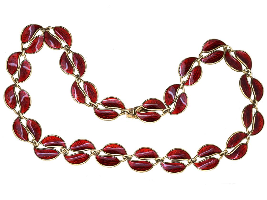 Silver & Red Enamel Necklace by David Andersen