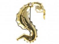 Silver Gilt & Enamel Sea Horse Brooch by David Andersen