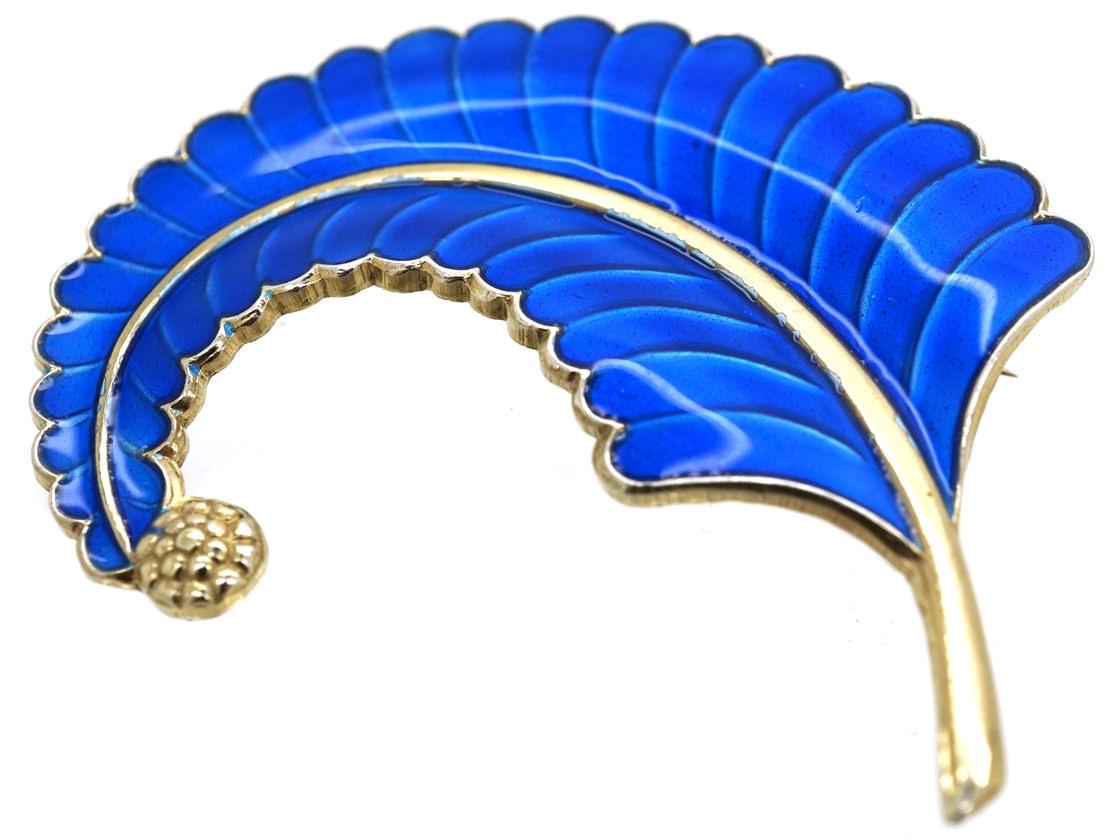 Norwegian Silver & Blue Enamel Feather Brooch by Albert Scharning