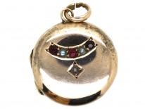 Edwardian Round 9ct Back & Front Locket With Half Moon Pearl & Garnet Motif
