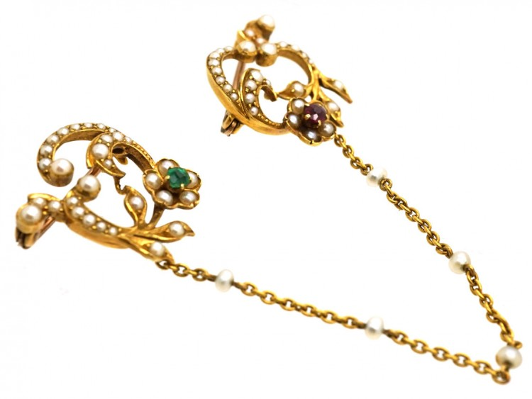 Edwardian Pair of 15ct Gold Brooches Set With Natural Split Pearls, Emerald & A Ruby