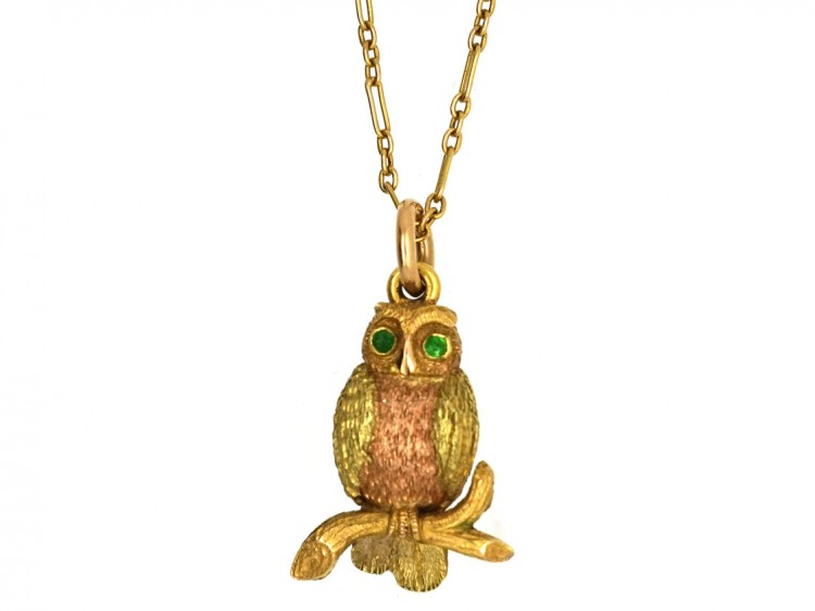 Edwardian Two Colour 15ct Gold Owl Pendant on 15ct Gold Chain