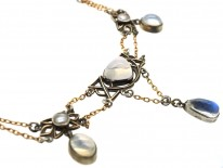 Silver & Gold , Moonstone & Blister Pearl Arts & Crafts Necklace