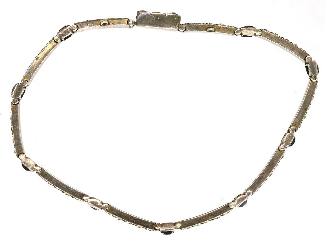 Art Deco Silver Thin Blue & White Paste Bracelet