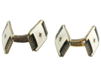 Norwegian Silver Gilt & Enamel Cufflinks by Aksel Holmsen