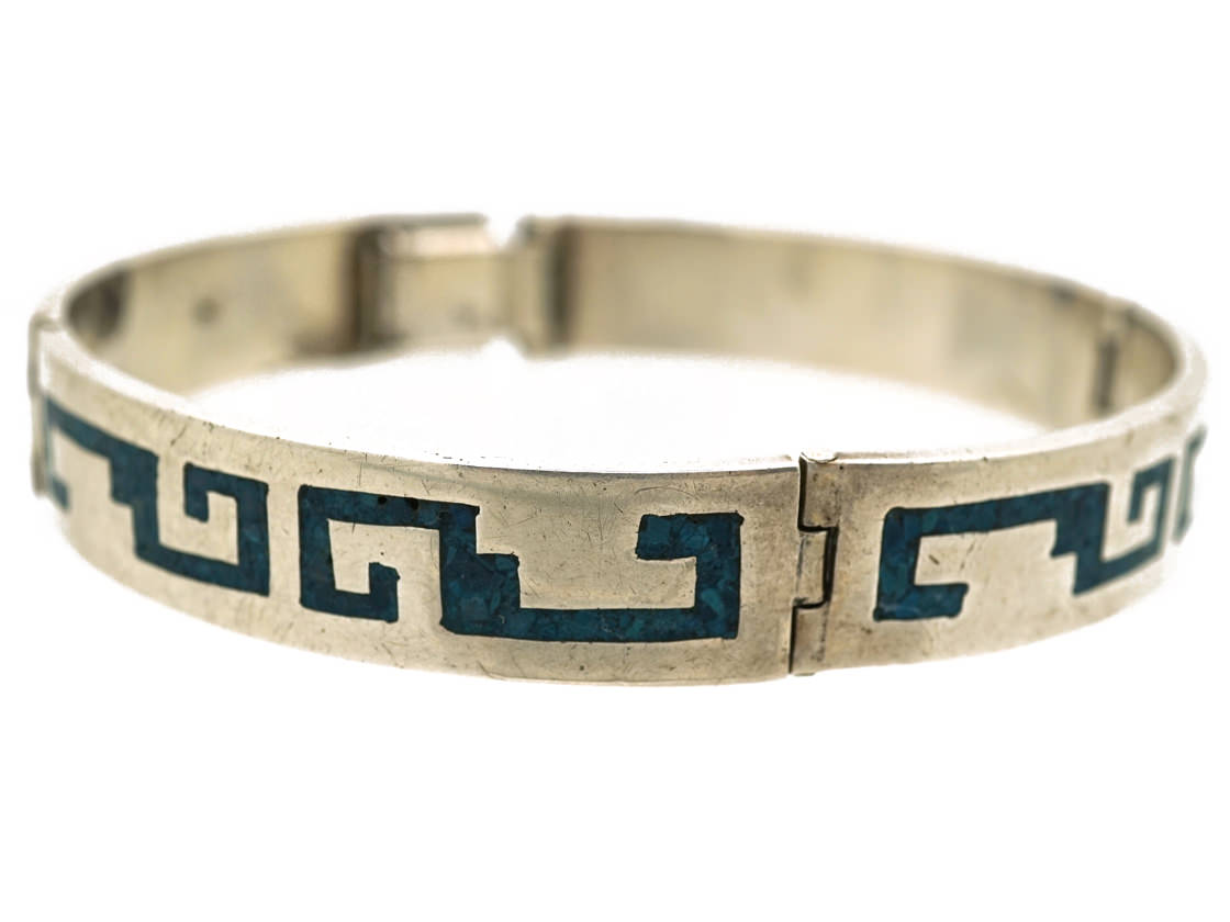 Mexican Silver Bracelet With Navaho Motifs in Turquoise