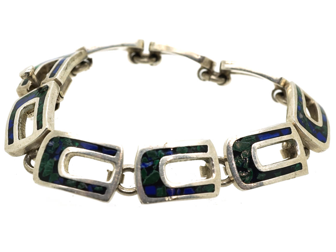 Mexican Silver Bracelet Inlaid with Lapis & Malachite Chips