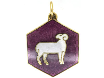 Aries Silver Gilt & Enamel Pendant Attributed to David Andersen
