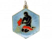 Aquarius Silver Gilt & Enamel Pendant Attributed to David Andersen