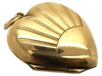 9ct Back & Front Sunburst Design Heart Locket