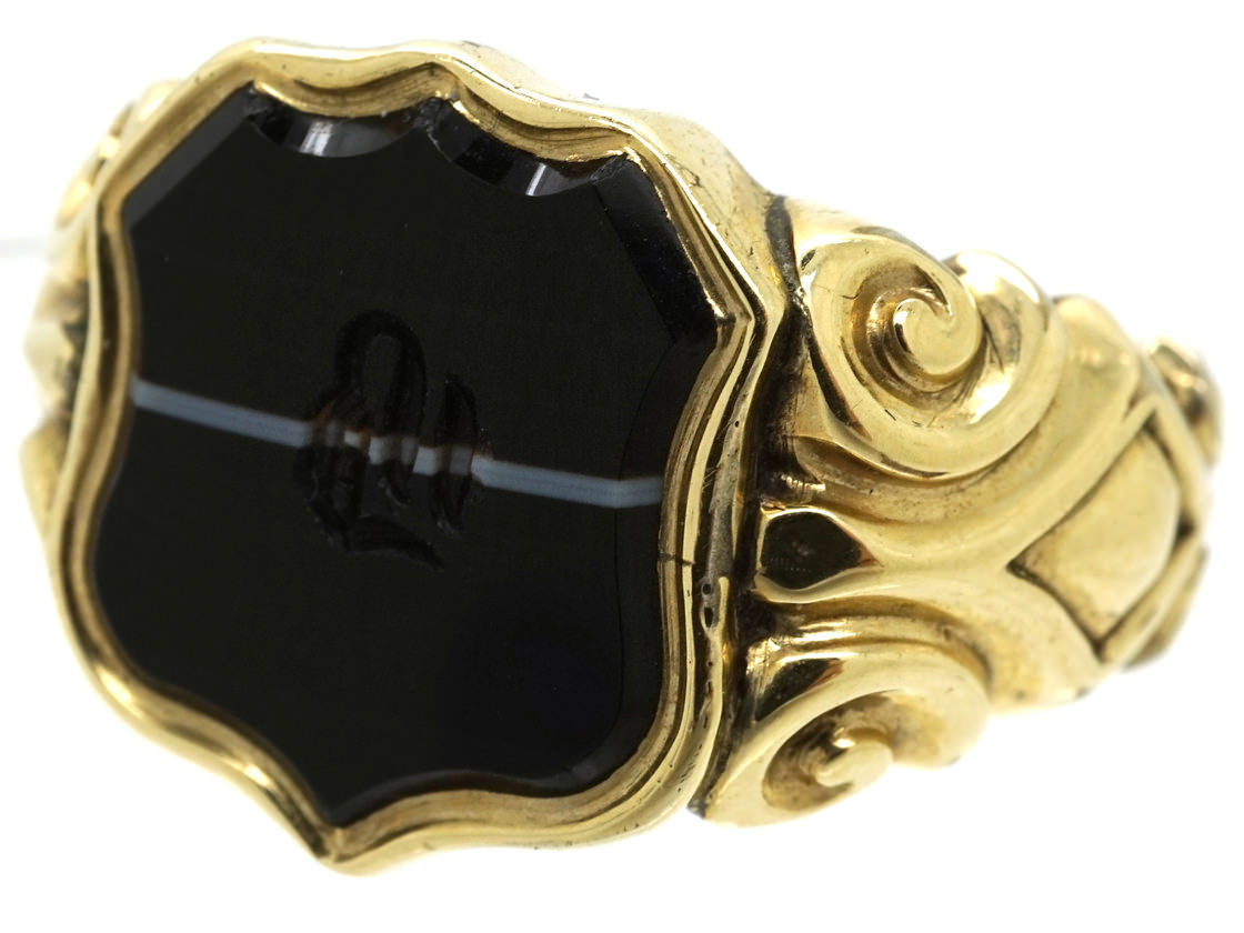 Victorian 15ct Gold & Banded Onyx Signet Ring With B Intaglio