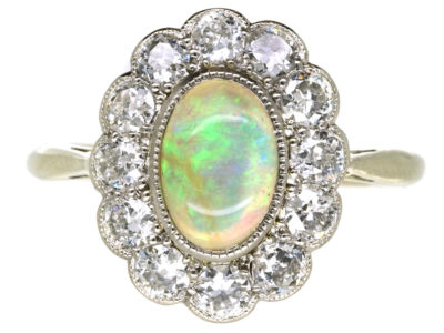 Edwardian 18ct Gold, Platinum, Opal & Diamond Oval Cluster Ring
