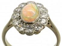 Edwardian 18ct Gold, Platinum, Opal & Diamond Oval Cluster Ring