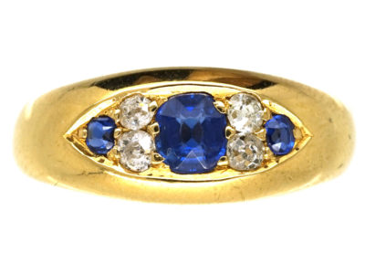 Edwardian 18ct Gold, Sapphire & Diamond Boat Shaped Ring