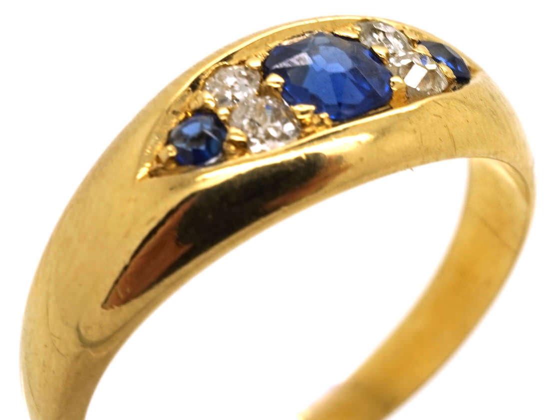 Edwardian 18ct Gold, Sapphire & Diamond Boat Shaped Ring