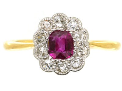 Edwardian Ruby & Diamond Oval Cluster Ring