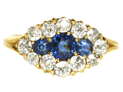Edwardian 18ct Gold, Diamond & Sapphire Ring