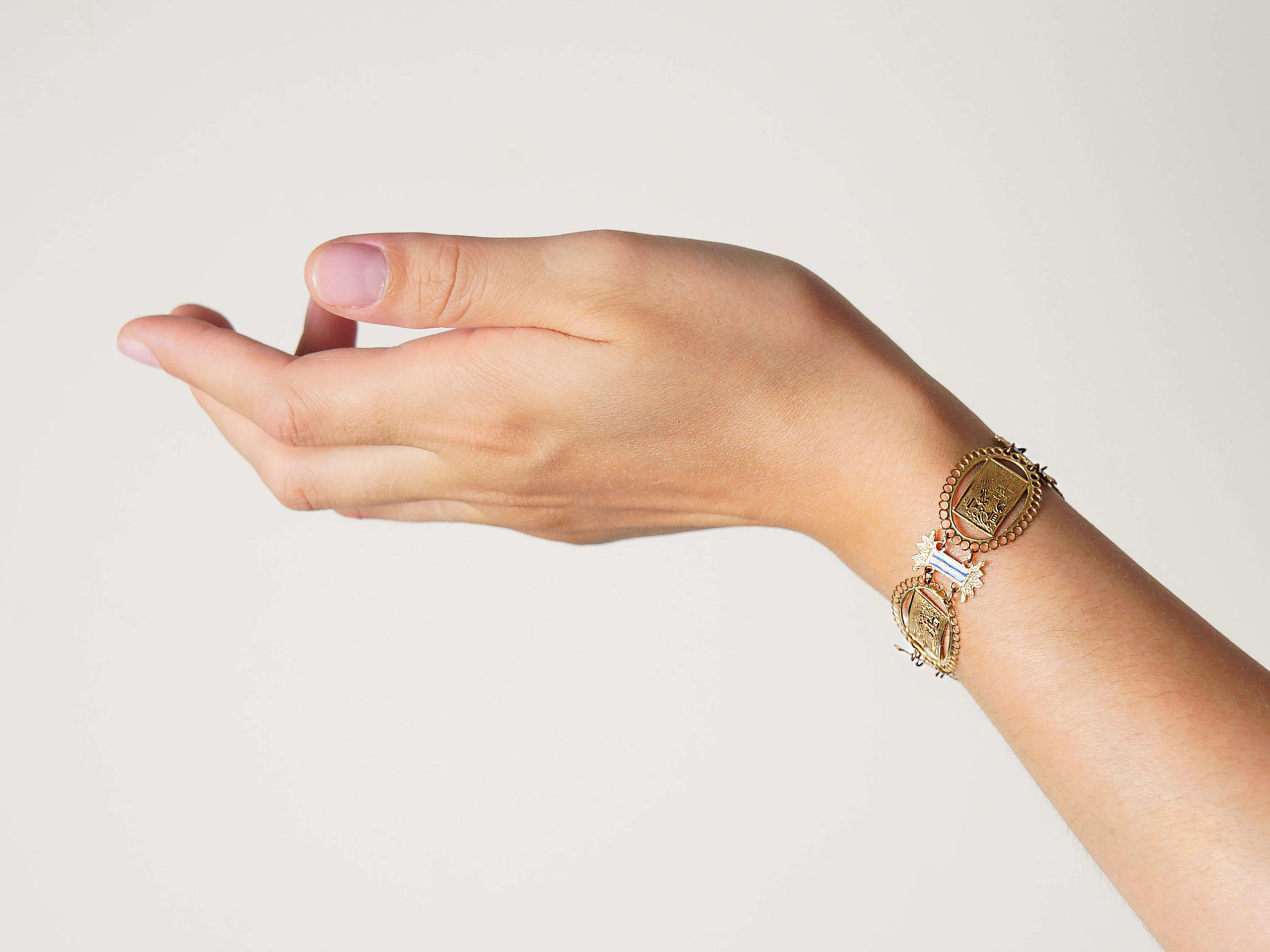 French 18ct Gold & Enamel Regency Bracelet