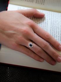 Edwardian 18ct & Platinum Sapphire & Diamond Cluster Ring